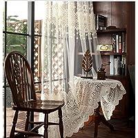 夜も透けにくいミラーレース 花柄 刺繍 ラーレースカーテン UVカットミラーカーテン 1組2枚入り (幅150cmx丈250cm)