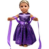 """18 Inch Doll Clothes - Beautiful Purple Dress with Dots Outfit Fits 18"""" American Girl Dolls, My Life Doll, ZKB07"""
