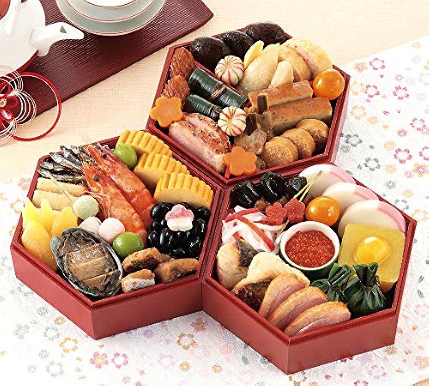 準備したサポートスラム街京菜味のむら おせち「華」三段重 32品(12月30日着)