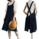 Cotton Linen Cross Back Apron for Women with Pockets Cute Japanese Korean Style Pinafore Dress for Cooking Baking Painting Ga