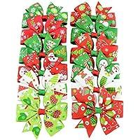 Youkara クリスマス ヘアピン 子供 ヘアクリップ ベビー リボン クリップ ギフトにぴったり 理想的な子供ヘアバンド 誕生日 プレゼント 12色をミックス (B)
