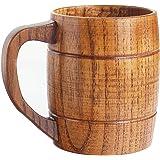 14 oz Best Wooden Beer Mugs with Handle Craft Beer Glasses Wine/Milk/Coffee/Tea Drinking Cup Gift