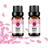 2 Bottles Rose Essential Oil 100% Pure Aromatherapy Oil for Diffuser, Perfumes, Massage, Skin Care, Soaps, Candles - 2 x 10 m