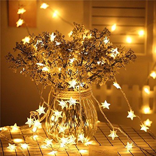 V-Dank イルミネーションライト 10m 80球 LED 電池式 装飾ライト 電飾 ストリング ライト 星形 フェアリーライト クリスマス ツリー 飾り物 高輝度 防水 点滅 パーティー 結婚式 誕生日 記念日 デコレーション