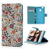 【Badalink】Huawei P9 lite ケース 手帳型 スタンド機能付 カードポケット付き 財布型 上絵 PUレザー ひまわり