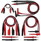 Aidetek silicone rubber wire 7 in 1 set needle tipped tip alligator clips mini-grabber test leads 4 FLUKE multimeter DMM test