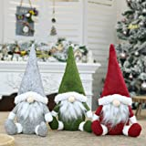 Akfado 3PCS Christmas Decorations Home Decor,Christmas Ornaments Plush Long Hat Forest Man Figurine Xmas Santa Claus Faceless