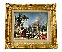 世界の名画 フランソワ ブーシェ The Fountain of Love ジクレーキャンバス複製画F3号豪華額装品