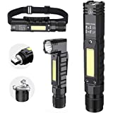 Portable Flashlight, 800 Lumens USB Rechargeable Tactical Flashlight, 90 Degree Rotate, Magnet tail, Flashlight IPX4 Waterpro