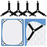 Rareccy Bed Sheet Holder Straps, Adjustable Bed Sheet Fastener and Triangle Elastic Mattress Sheet Clips Suspenders Grippers
