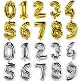 誕生日 飾り付け バルーン 数字 風船 ナンバー バルーン 大きい 70㎝ 1歳 アルミバルーン (ゴールド, 2)