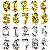 誕生日 飾り付け バルーン 数字 風船 ナンバー バルーン 大きい 70㎝ 1歳 文字風船 アルミバルーン (シルバー, 8)