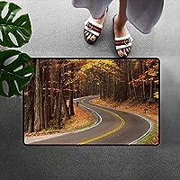 秋ようこそドアマット森の中の曲がりくねった道グレートスモーキー山脈季節の変化走行ドアマットは無臭で耐久性のある多色 60x40cm