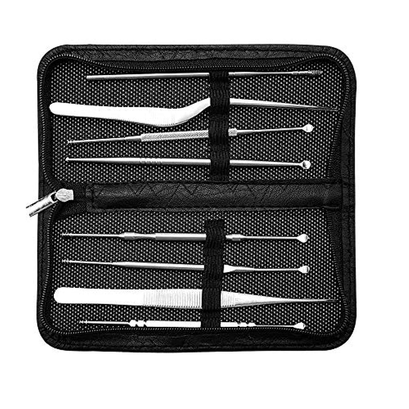 戦略引き付ける部分的8本セットステンレス製コメドプッシャー毛抜きスティックピンセッ 毛穴ケア専用キット