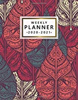Weekly Planner 2020-2021: 2 Year Weekly & Daily View Organizer & Agenda with To-Do's, Funny Holidays & Inspirational Quotes, Vision Boards & Notes | Cute Tribal & Leaf Pattern