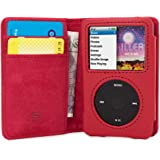 Snugg iPod Classic Case Leather Flip Case [Card Slots] Executive Apple iPod Classic Wallet Case Cover and Stand [] - Red - Le