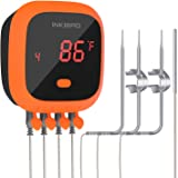Inkbird Waterproof Bluetooth Meat Thermometer IBT-4XC, 4 Probes BBQ Grill Thermometer, Rechargeable Battery, Magnet, Timer, A