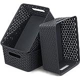 Neadas Deep Grey 8 Litre Plastic Storage Baskets, 4 Packs