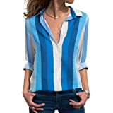 zeyubird Womens Casual Shirt Collar Tops Striped Patchwork Printed Blouse Button Down Long Sleeve Shirts for Women