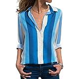 zeyubird Womens Casual Shirt Collar Tops Striped Patchwork Printed Blouse Button Down Long Sleeve Shirts for Women