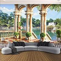 Bzbhart テレビの背景装飾画、壁用ステッカーカスタムウォールクロス3Dスペースバルコニー滝風景ローマ列写真壁画壁紙リビングルーム寝室3D-200cmx140cm