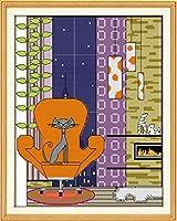 LovetheFamily クロスステッチキット DIY 手作り刺繍キット 正確な図柄印刷クロスステッチ 家庭刺繍装飾品 11CT ( インチ当たり11個の小さな格子)中程度の格子 刺しゅうキット フレームがない —35×42cm リトルグレーの猫