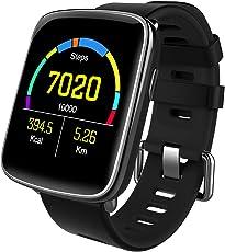 スマートウォッチ、Yamay 1.54インチHD画面スマートブレスレット 心拍計 活動量計 多機能腕時計 Bluetooth通話機能搭載(SIMカードなし) SMS通知 歩数計 消費カロリー ストップウォッチ 睡眠検測 座りっぱなし警告 遠隔音楽 IP68防水 水泳可能 日本語説明書 iphone&Android対応 (ブラック)
