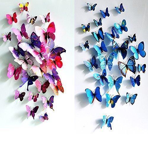 RoomClip商品情報 - Mumiji かわいらしい蝶の部屋かざり 大きな 蝶 壁紙 立体 3D かわいい ウォールステッカー 24匹 赤&青 磁石 & 安全ピン タイプ 両面テープ付き 壁紙シール 立体3D 華やかな壁紙 ウォールステッカー インテリア 部屋 の 模様替え