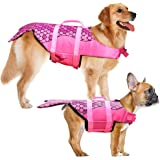 Dog Life Jacket - Mermaid Hot Pink, Portable Dog Swimming Jacket Vest, Lifesaver Vests with Rescue Handle for Small Medium an
