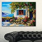 DesignArtハウス近く海油彩画風景キャンバスプリント絵画、32インチx 16インチ、ブルー
