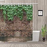 JAWO レンガ壁シャワーカーテン バスルーム用 ヴィンテージスタイル シャビーオールドレンガ壁と緑の葉 レトロアート 防カビ ポリエステル生地 フック付きバスカーテン 幅69×長さ70インチ