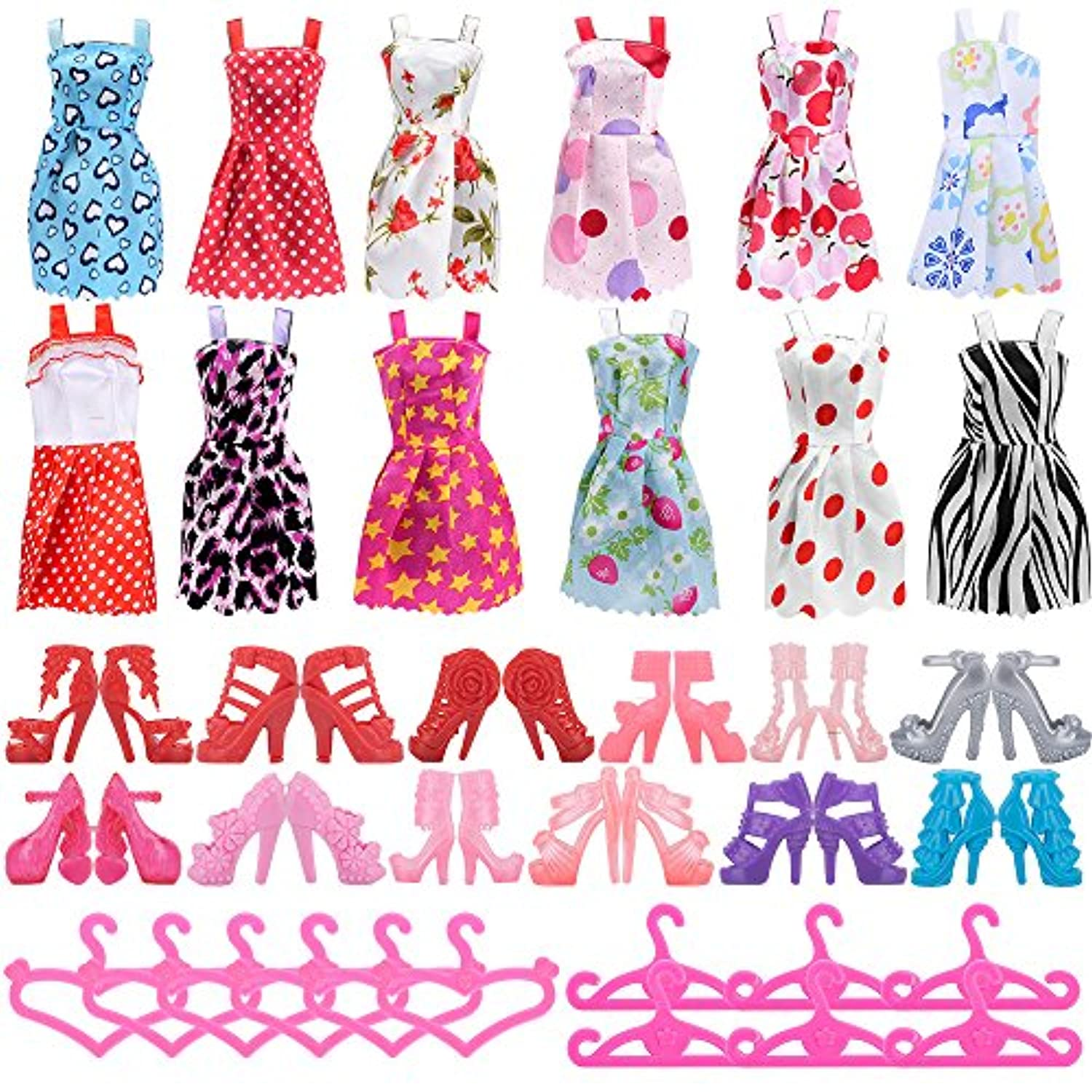 ASIV 12 Dresses, 12 Paris of Shoes & 12 Hangers Accessories for Barbie Gifts for Kid (36 Pieces)