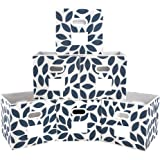 MAXhouser Fabric Storage Bins Cubes Baskets Containers with Dual Plastic Handles for Home Closet Bedroom Drawers Organizers,