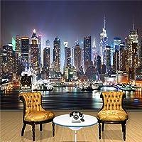 LJJLM カスタム3D写真壁紙ニューヨーク市夜壁絵画アート壁画壁紙リビングルームテレビ背景壁ペーパー家の装飾-280X200CM