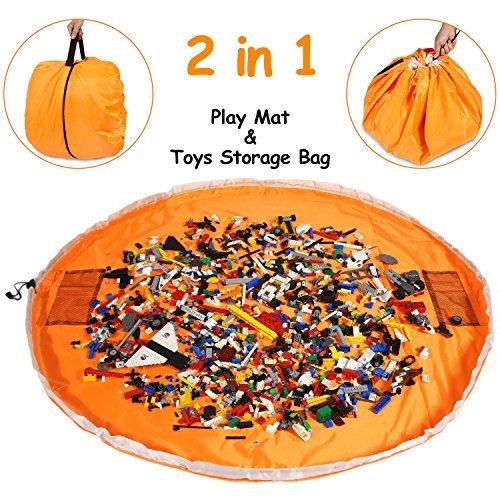 おもちゃストレージマットバッグ–Play Mat andおもちゃオーガナイザーストレージバッグfor LEGO–ProtableコンテナDrawstringの保存Kids Toys Organizedで60秒