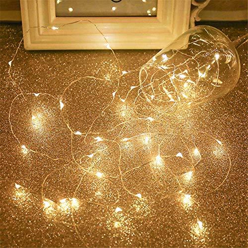 SimonJp イルミネーションライト ストリングライト LED 10m 電球数100 電池式 ワイヤーライト クリスマス パーティー 結婚式 誕生日 飾りライト スター 電飾 室内室外 防水 電球色 usb式