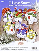 Design Works Crafts I Love Snow 3-1/2-4 Each Cross Stitch Ornament Kit (Set of 6) [並行輸入品]