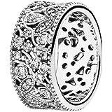 Pandora 指輪-54 女性用 190965CZ シルバー 輝く葉のデザイン