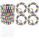Wrist Coil Wrist Keychain Colorful Stretch Wristband Key Chain for Gym, Pool, ID Badge 10PCS- Gtlzlz