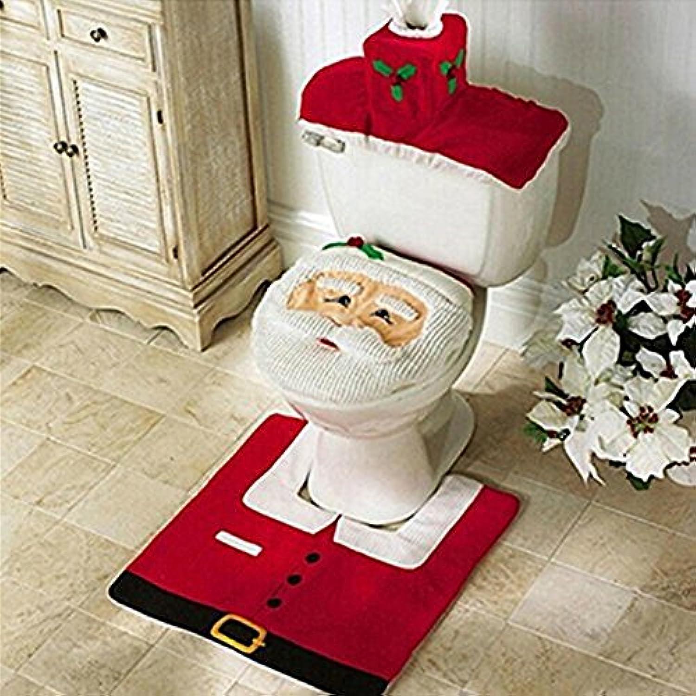 Jentayクリスマスデコレーションハッピーサンタトイレシートカバーとラグセット