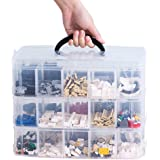 Sooyee 3-Layer Things & Crafts Storage Box with 30 Adjustable Compartments for Organizing Washi Tape, Embroidery Accessories,