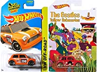 Beatles Hot Wheels Morris Mini Cooper & Off-Road Mini #80 Car 2 Pack set - Exclusive Yellow Submarine Series in