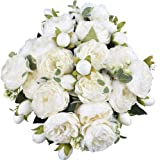 XONOR 3 Packs Artificial Peony Silk Flowers Fake Glorious Flower Bouquets for Wedding Party Bridal Home Decoration, 5 Forks,