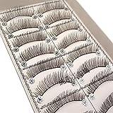 Feteso 10組 偽のまつげセット つけまつげ 上まつげ Eyelashes アイラッシュ ビューティー まつげエクステ レディース 化粧ツール アイメイクアップ 人気 ナチュラル 飾り 再利用可能 濃密 柔らかい (F)