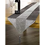 OZXCHIXU(TM) 13inch x 72inch Table Runner With Diamante Strip And Tassels (grey)