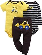 ベビー服 Comfydot ベビー用ロンパース 3点セット カバーオール 男の子 新生児 半袖 長袖 100% 綿 ブルドーザー 9-18か月