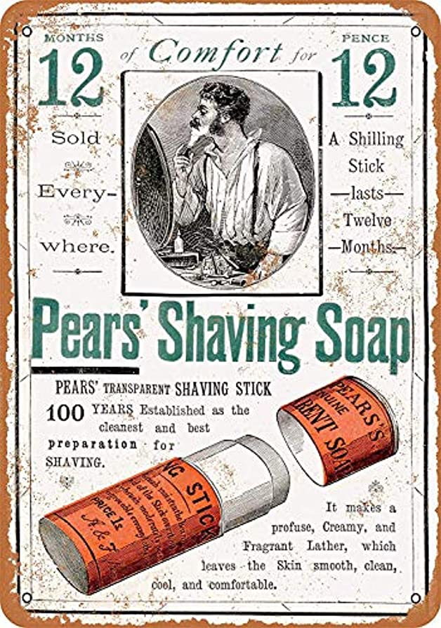 Shimaier 壁の装飾 ブリキ 看板メタルサイン 1884 Pears' Shaving Soap ウォールアート バー カフェ 30×40cm ヴィンテージ風 メタルプレート