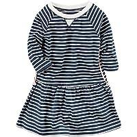 Carter's Girls Long Sleeve Striped Knit Dress Braid Detail; Navy & White (6M)
