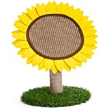 Lemonda Cat Scratching Post Sunflower Cat Activity Tree Tower Cute Cat Claw Scratcher Board with Sisal Rope for Cats and Kitt