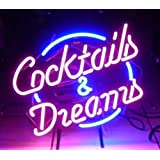"""Cocktails and Dreams Real Glass Neon Light Sign Home Beer Bar Pub Recreation Room Game Room Windows Garage Wall Sign (17""""×14"""""""